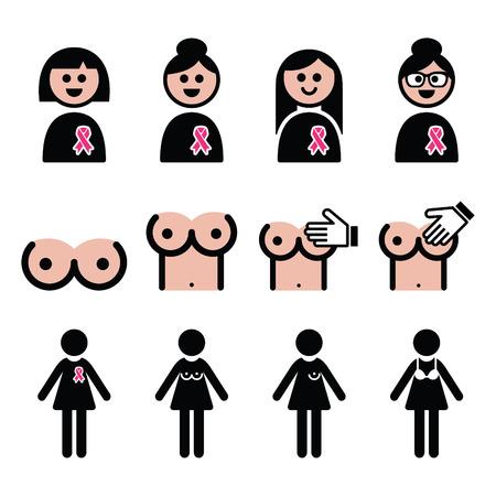 senos: El cáncer de mama, la mujer con los iconos de la cinta del rosa establecidos Vectores