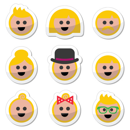 happy old age: People with blond hair vector icons set