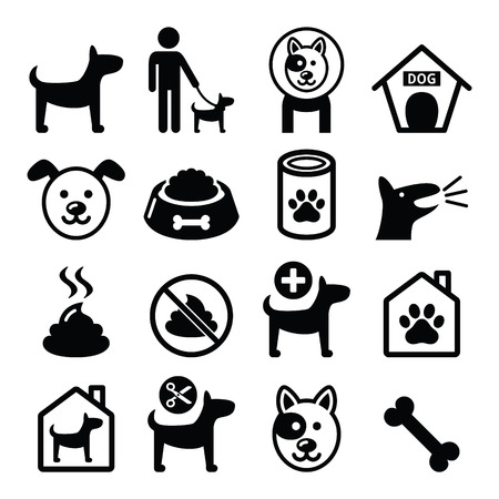 perro comiendo: Perro, mascotas iconos conjunto - veterinario, perro
