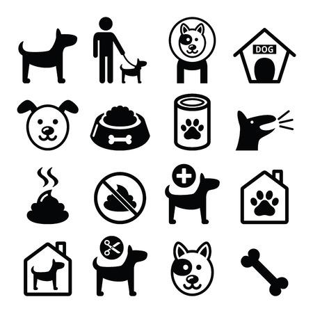 Perro, mascotas iconos conjunto - veterinario, perro