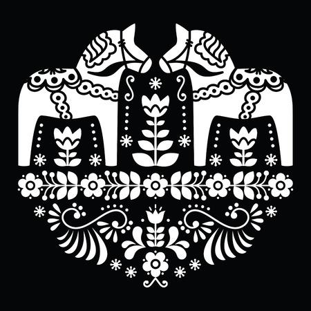 Zweedse Dala of Daleclarian paard folk florale patroon op zwart