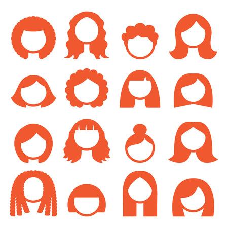 cabello corto: Mujer peinados, pelucas iconos - jengibre Vectores