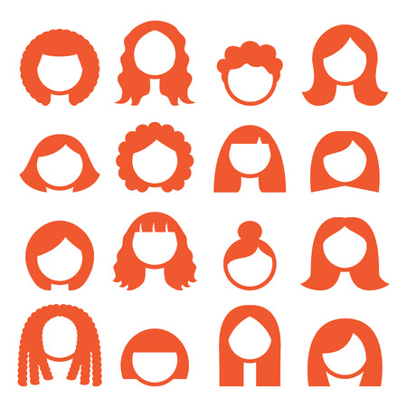long hair: Woman hair styles, wigs icons - ginger