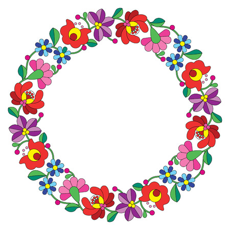 hungarian: Kalocsai embroidery in circle - Hungarian floral folk pattern
