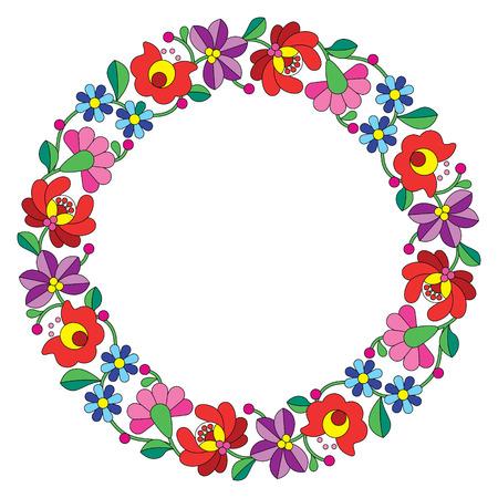 etno: Kalocsai embroidery in circle - Hungarian floral folk pattern