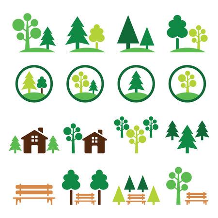 Árboles, bosque, establecen parque vector iconos verdes