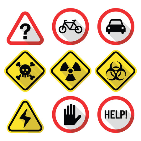 Warning signs - danger, risk, stress - flat design