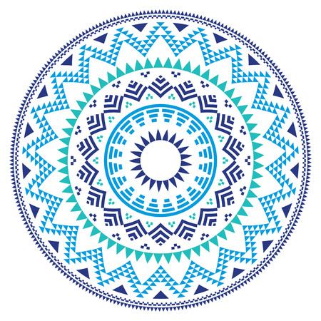 ethnic design: Tribal folk Aztec geometric pattern in circle - blue, navy and turquoise