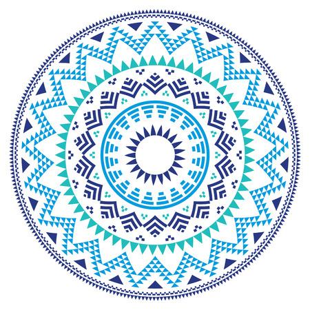 Tribale folk Aztec geometrisch patroon in cirkel - blauw, marine en turquoise Stock Illustratie