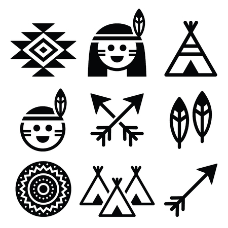 indigenous: Indian American, indigenous people and culture icons set Illustration