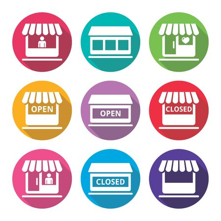 closed sign: Shop or store, supermarket flat design icons set