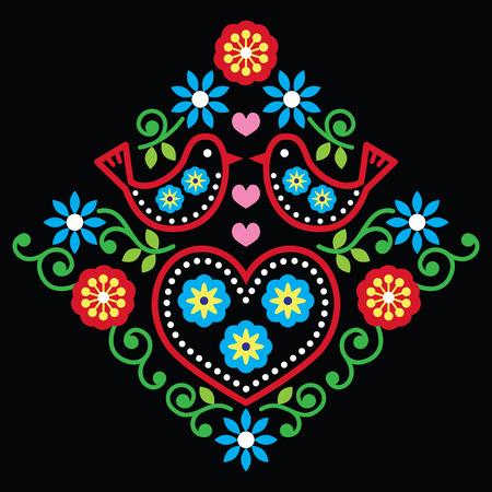 folk tales: Folk art floral vector pattern on black Illustration