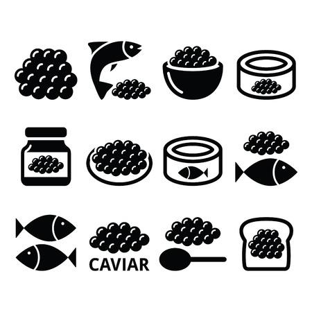 caviar: Caviar, roe, fish eggs icons set Illustration