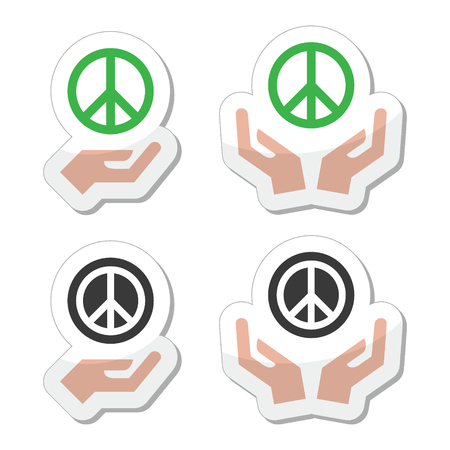pacifist: Peace sign with hands icons set