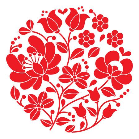 bordados: Kalocsai bordado rojo - folk patr�n floral ronda h�ngaro Vectores