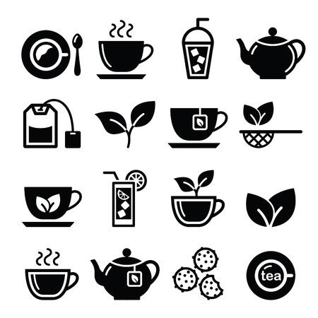 tarde de cafe: Iconos del té y té helado conjunto de vectores