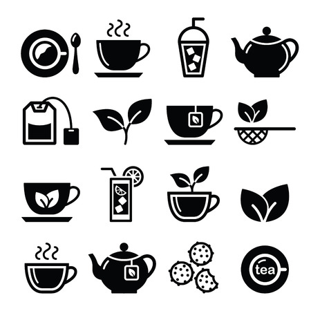 green tea leaf: Tea and ice tea vector icons set