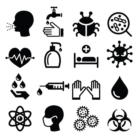 bacteria in heart: Infection, virus - health icons set Illustration