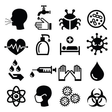 chory: Zestaw ikon dla zdrowia - zakażenie, wirus Ilustracja