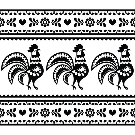 folk art: Seamless Polish monochrome folk art pattern with roosters - Wzory lowickie Illustration
