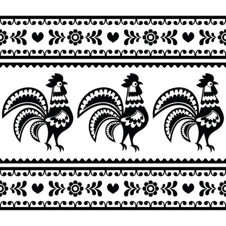 slavic: Seamless Polish monochrome folk art pattern with roosters - Wzory lowickie Illustration