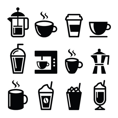 drinking coffee: Coffee drinks, coffee makers icons set