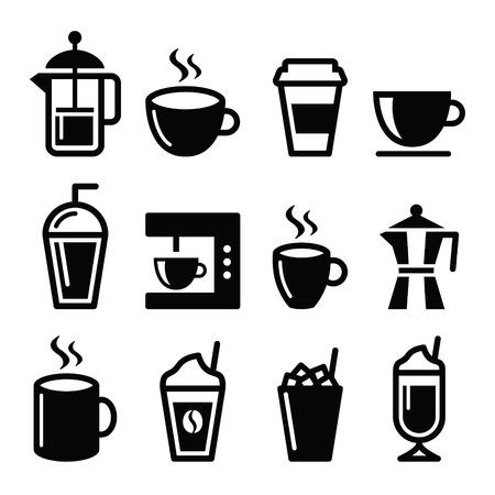 Koffiedranken, koffiezetapparaten pictogrammen instellen