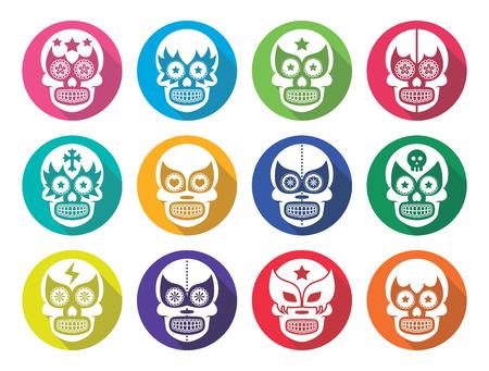 modern fighter: Lucha Libre - Mexican sugar skull masks flat design