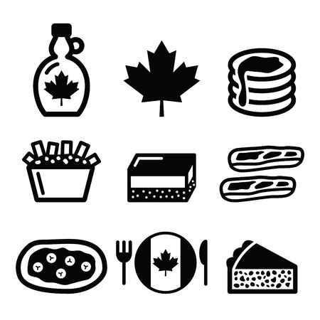 Canadian food icons - maple syrup, poutine, nanaimo bar, beaver tale, tourti?re