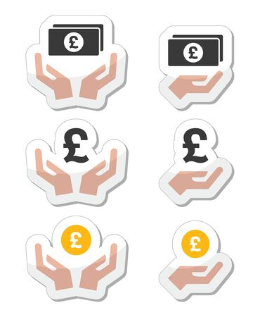 Hands with pound banknote, coin vector icons set Vector