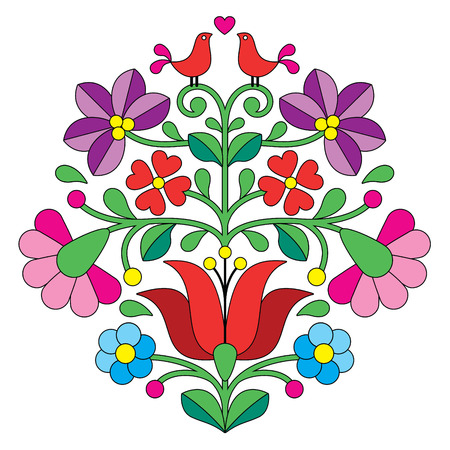Kalocsai 刺繍 - 鳥とハンガリー民俗花柄