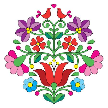 bordados: Kalocsai bordado - patr�n floral popular h�ngaro con las aves Vectores