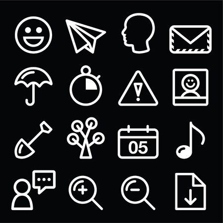 website navigation menu white line, stroke icons on black Vector