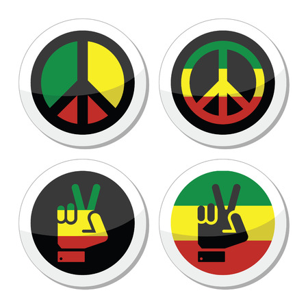gesture set: Rasta peace, hand gesture vector icons set Illustration