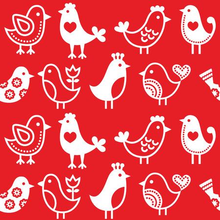 folk tales: Folk, retro red background with birds - seamless pattern