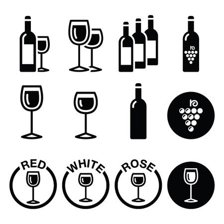 sommelier: Wine types - red, white, rose icons set