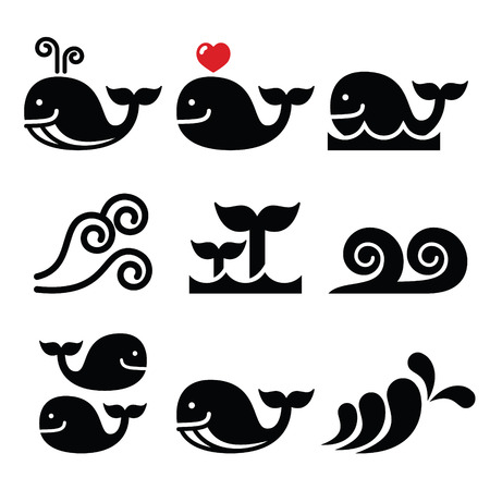 surfing beach: Whale, sea or ocean waves icons set