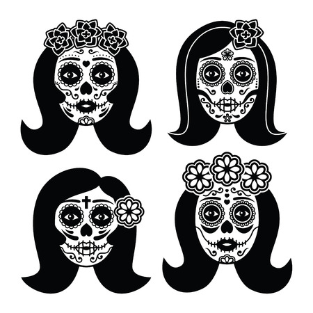 gothic girl: Mexican La Catrina - Day of the Dead girl skull