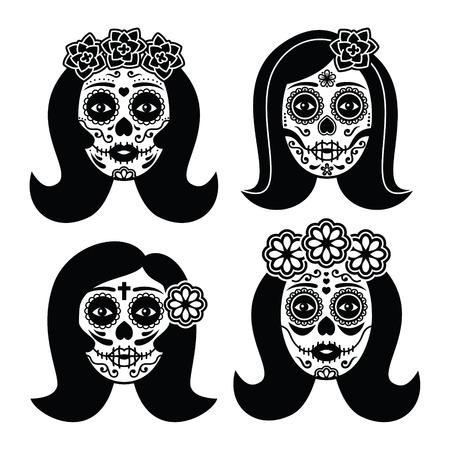 dead girl: Mexican La Catrina - Day of the Dead girl skull