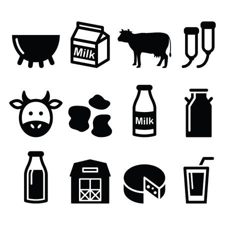 leche: La leche, la producción de queso, establece los iconos del vector de la vaca Vectores