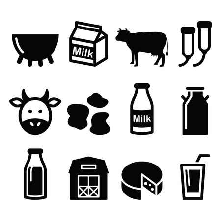 latte fresco: Latte, produzione di formaggio, impostare le icone vettoriali mucca Vettoriali
