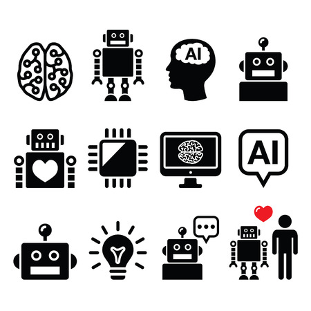 heart intelligence: Artificial Intelligence (AI), robot icons set Illustration