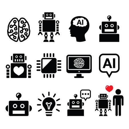 Artificial Intelligence (AI), robot pictogrammen instellen Stock Illustratie