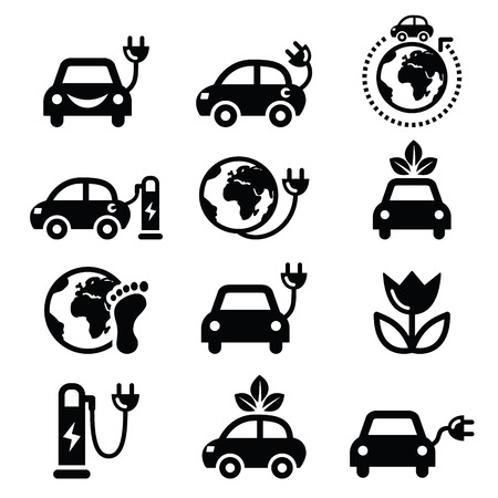 Electric car, green or eco transport icons set Vector