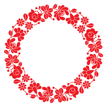 etno: Kalocsai red embroidery in circle - Hungarian floral folk pattern