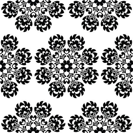 folk art: Seamless floral Polish folk art pattern - wzory lowickie, wycinanki