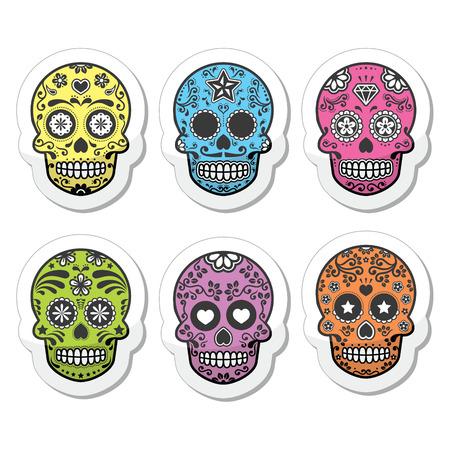 メキシコの砂糖の頭骨、Dia デ ロス ムエルトスのアイコンを設定  イラスト・ベクター素材
