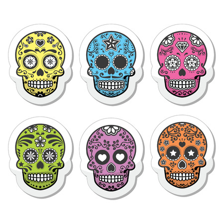 mexican culture: Mexican sugar skull, Dia de los Muertos icons set Illustration