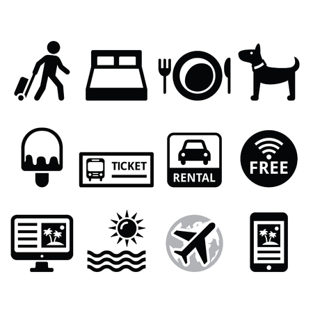 Travel and tourism, booking holidays icons set Vector