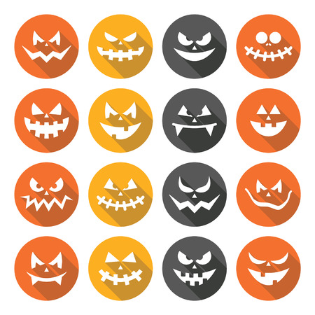 grime: Scary Halloween pumpkin faces flat design icons set